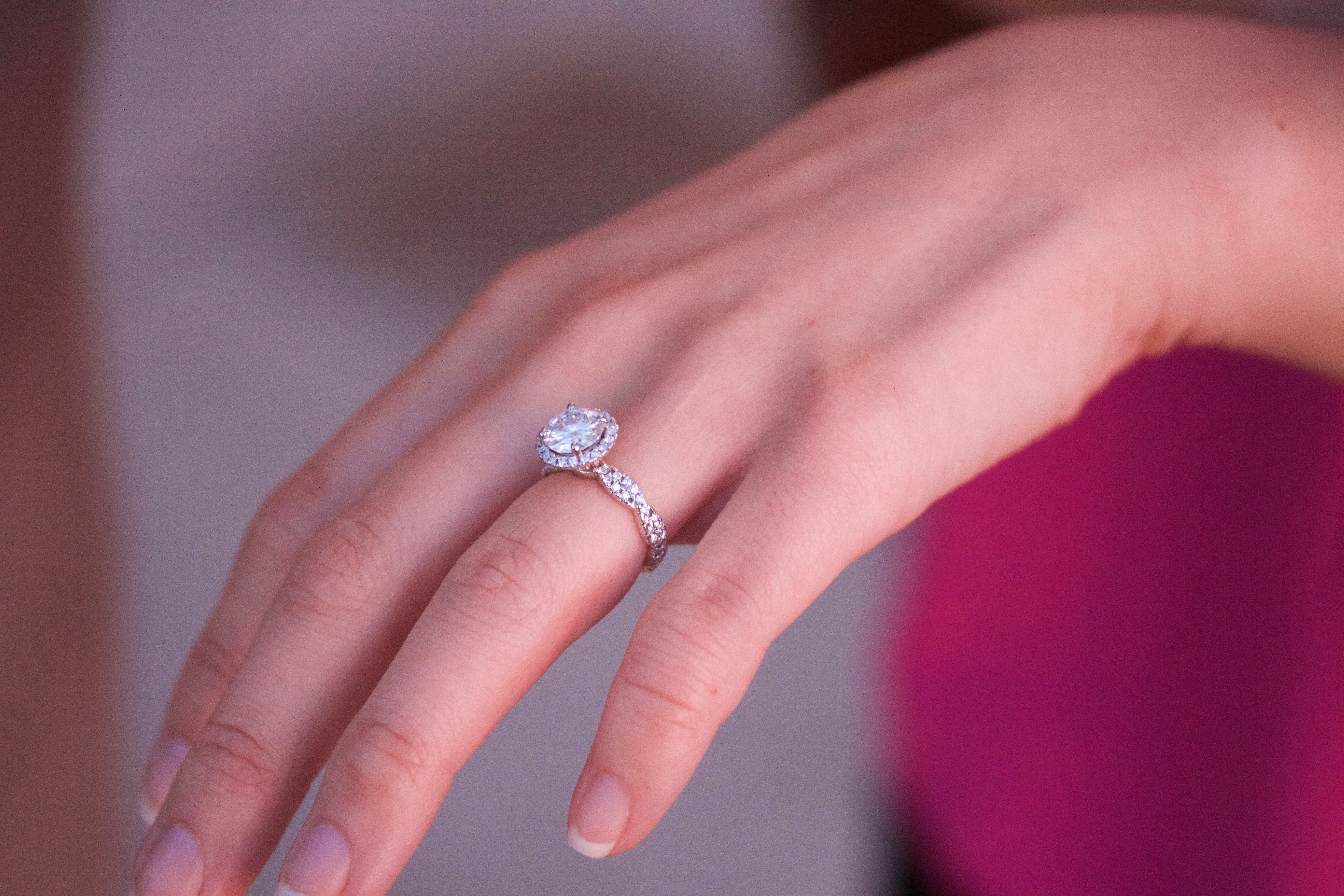 Halo Engagement Ring With Diamond \