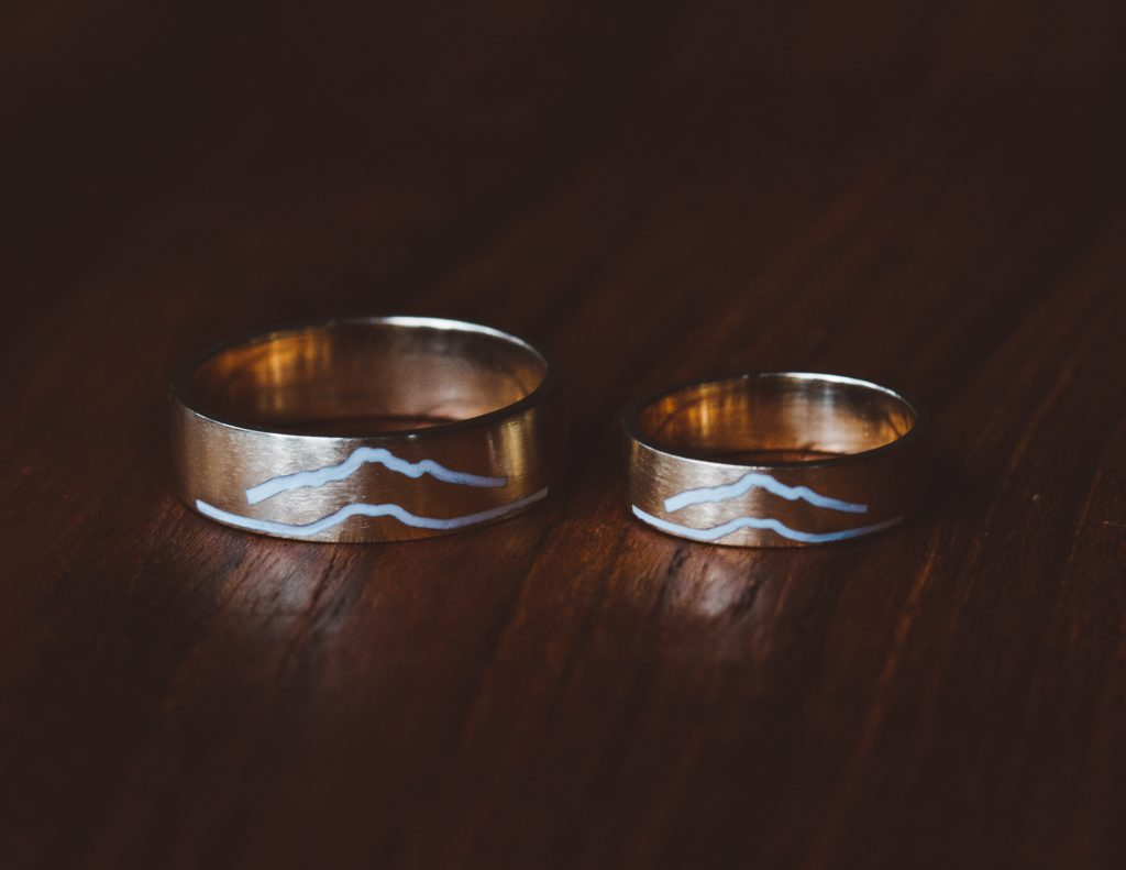 custom mountain inspired wedding rings