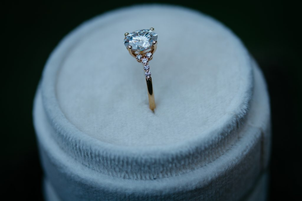Moissanite and lab grown diamonds combined into one ring.