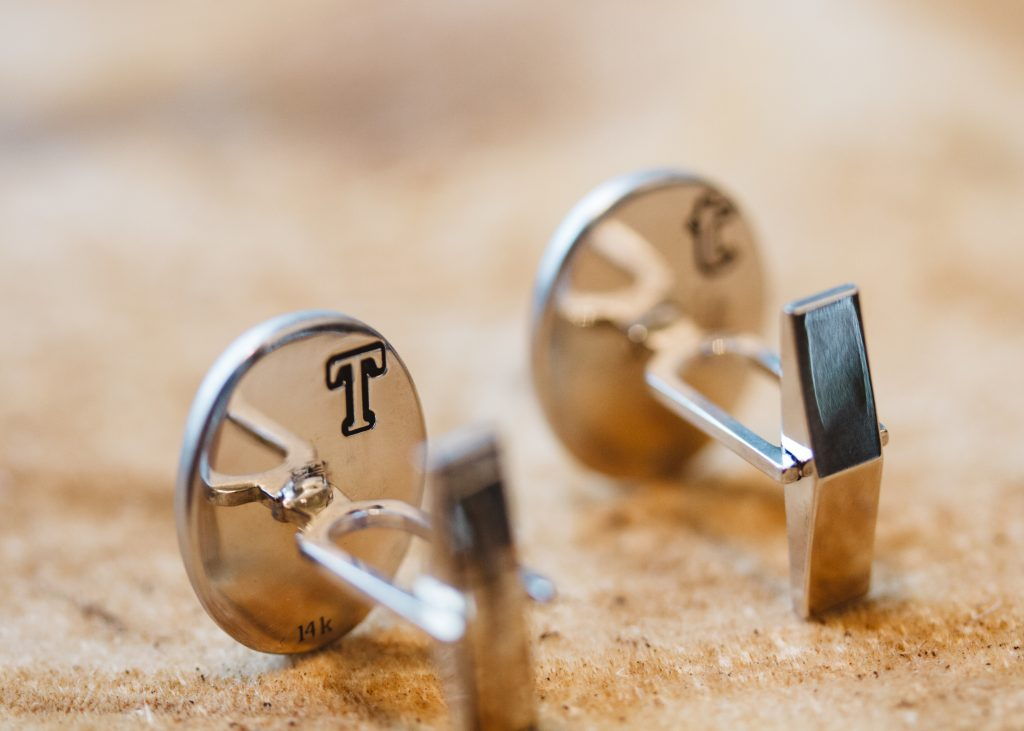 14KT white gold cufflinks
