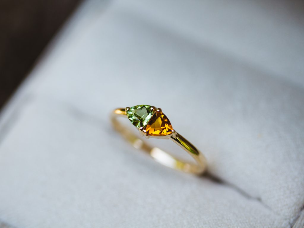 2 Stone Mother's Ring with Peridot and Citrine.