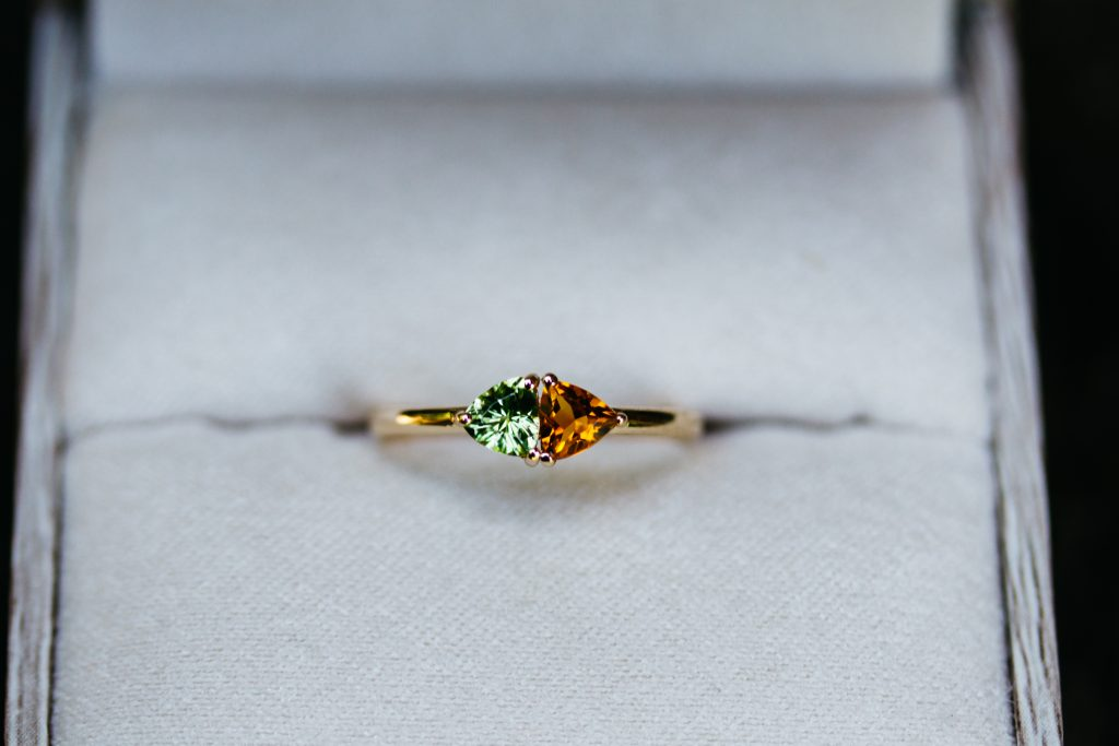Trillion Birthstone Ring With Citrine and Peridot