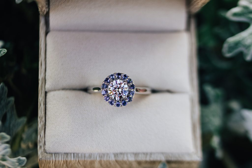 Tanzanite Halo Engagement Ring