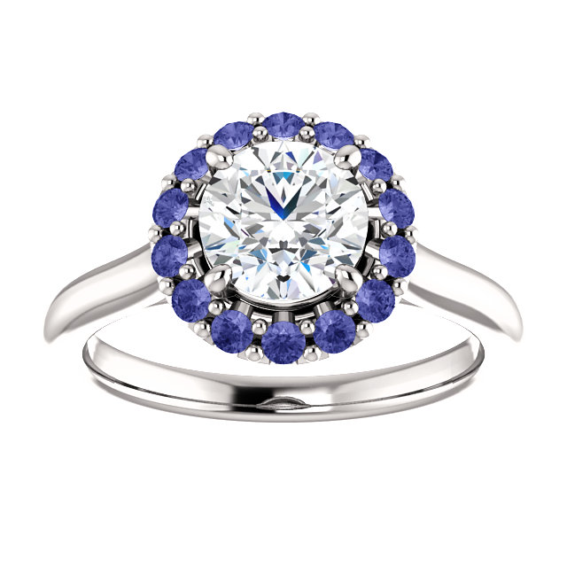 CAD rendering of tanzanite halo engagement ring