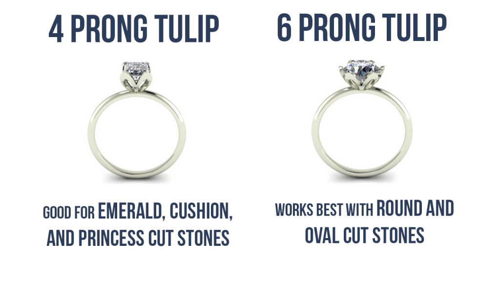 4 prong vs 6 prong tulip ring setting