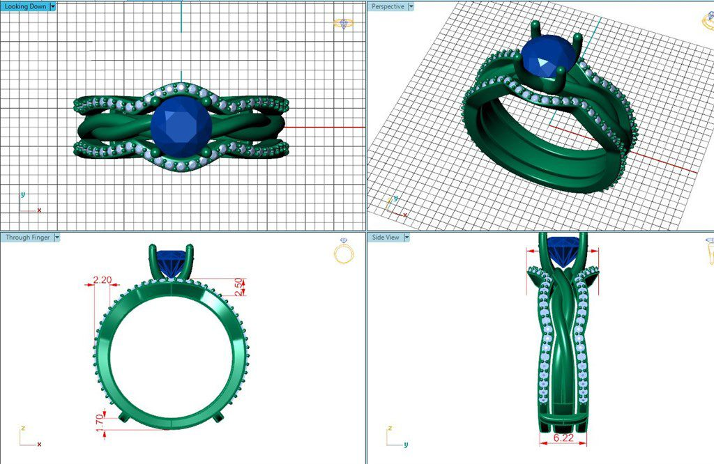 Cad rendering of a custom ring guard