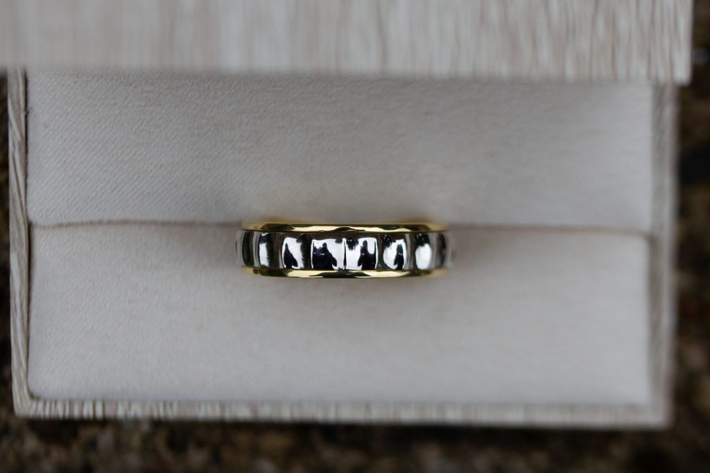 Mens two tone wedding ring