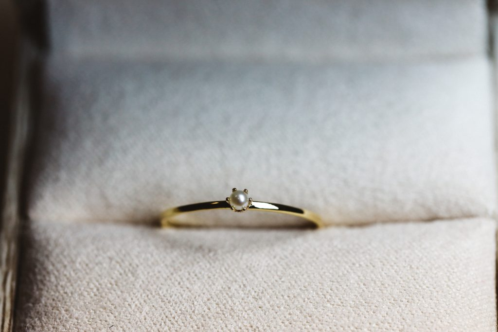 pearl ring with thin 1mm band.